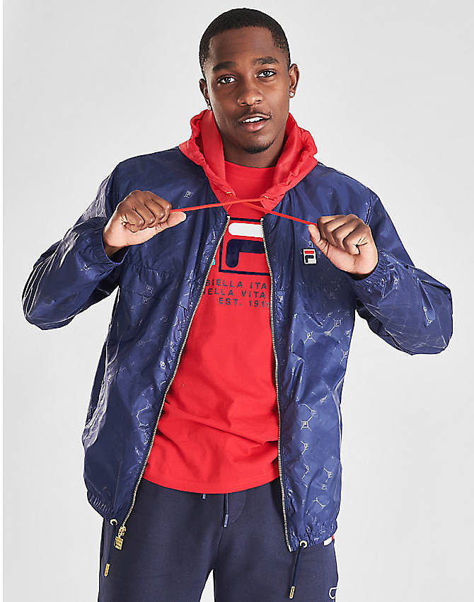 Front view of Men's Fila Copper Full-Zip Wind Jacket in Navy