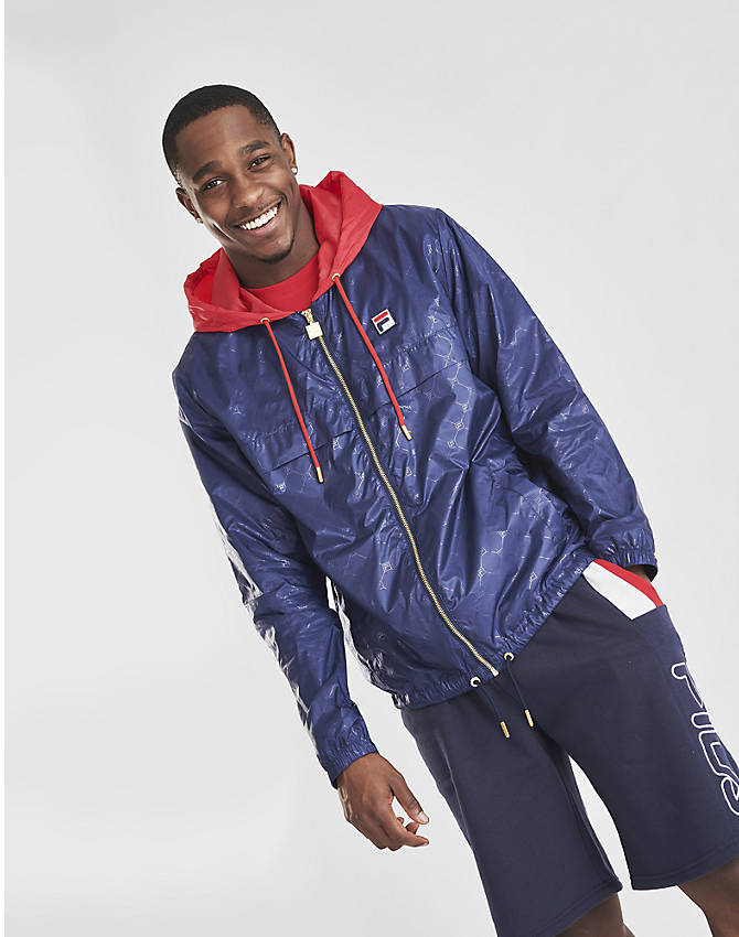 On Model 5 view of Men's Fila Copper Full-Zip Wind Jacket in Navy