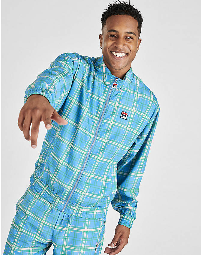Front Three Quarter view of Men's Fila Livingston Track Jacket in Blue Plaid