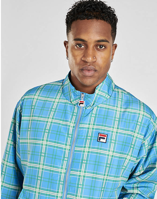 Back Right view of Men's Fila Livingston Track Jacket in Blue Plaid