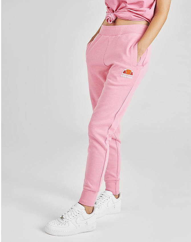 Front Three Quarter view of Women's Ellesse Lauderdale Fleece Jogger Pants in Pink