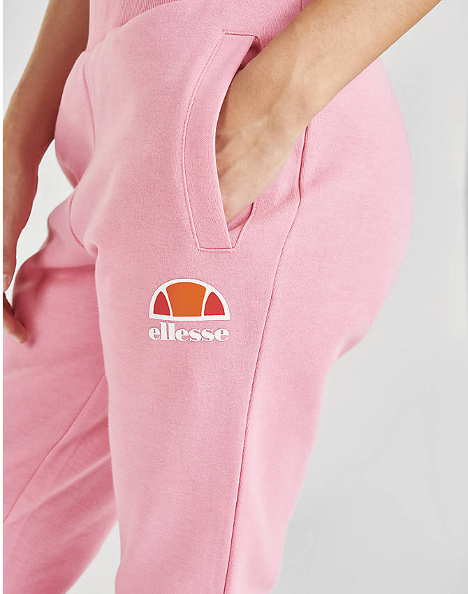 Back Right view of Women's Ellesse Lauderdale Fleece Jogger Pants in Pink