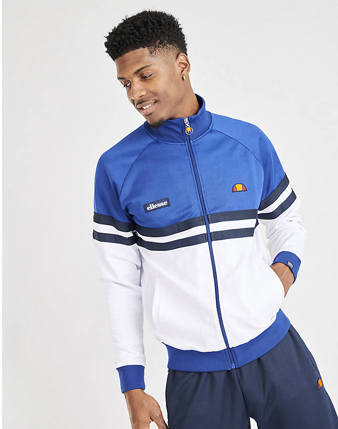 Back Left view of Men's Ellesse Rimini Full-Zip Track Jacket in Blue