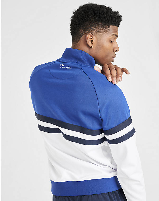 Back Right view of Men's Ellesse Rimini Full-Zip Track Jacket in Blue