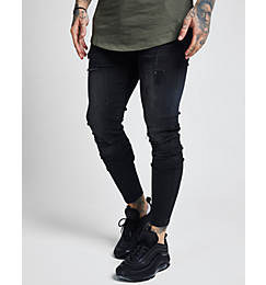 Men's SikSilk Rip Washed Skinny Jeans