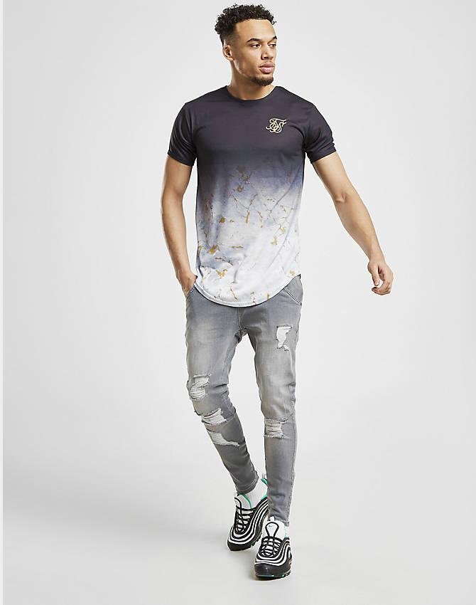 New SikSilk Men's Ripped Denim Shorts