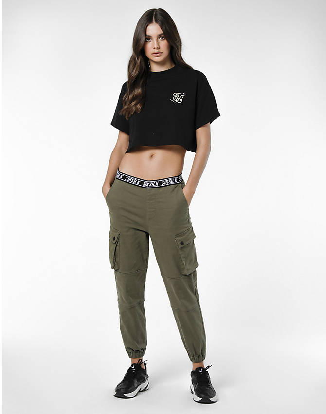 Front view of Women's SikSilk Cargo Jogger Pants in Khaki