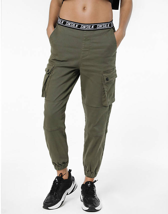 Front Three Quarter view of Women's SikSilk Cargo Jogger Pants in Khaki