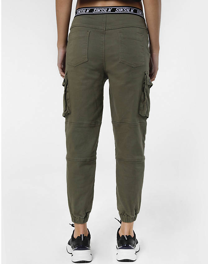 Back Right view of Women's SikSilk Cargo Jogger Pants in Khaki