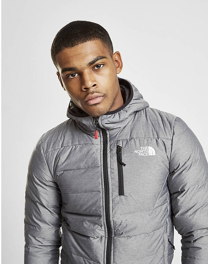 Front Three Quarter view of Men's The North Face Aconcagua Jacket in Silver