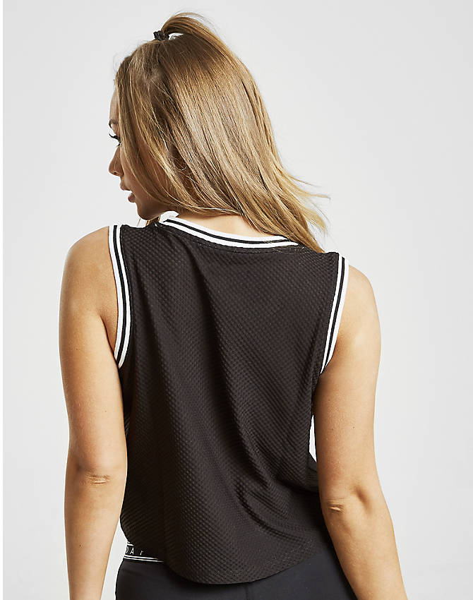 Back Left view of Women's Pink Soda Sport Sienna Crop Mesh Tank in Black/White