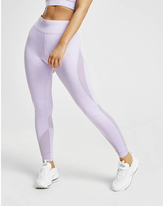 Front Three Quarter view of Women's Pink Soda Sport Mesh Tights in Lilac
