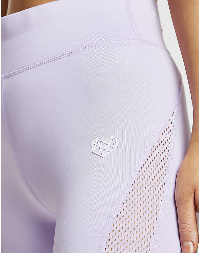 Back Right view of Women's Pink Soda Sport Mesh Tights in Lilac