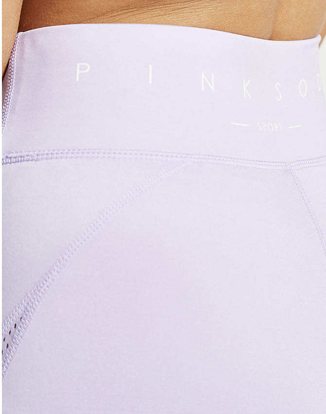 On Model 5 view of Women's Pink Soda Sport Mesh Tights in Lilac