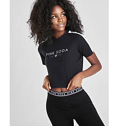 Women's Pink Soda Sport Prism Tape Crop T-Shirt