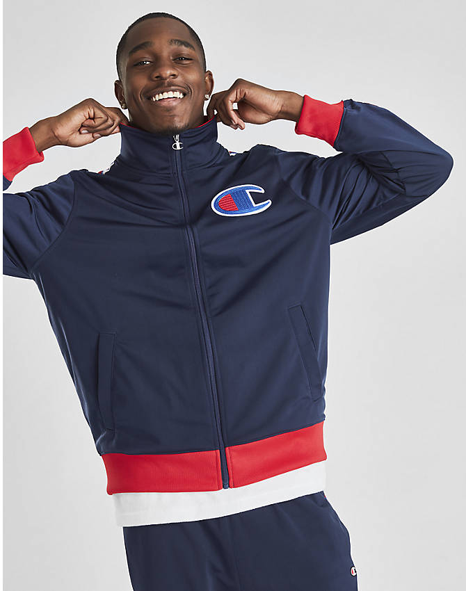 Front view of Men's Champion Track Jacket in Indigo/Scarlet