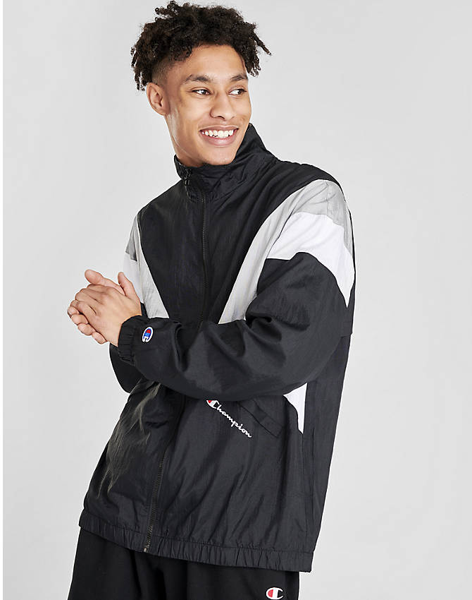 Front view of Men's Champion Nylon Colorblock Track Jacket in Black