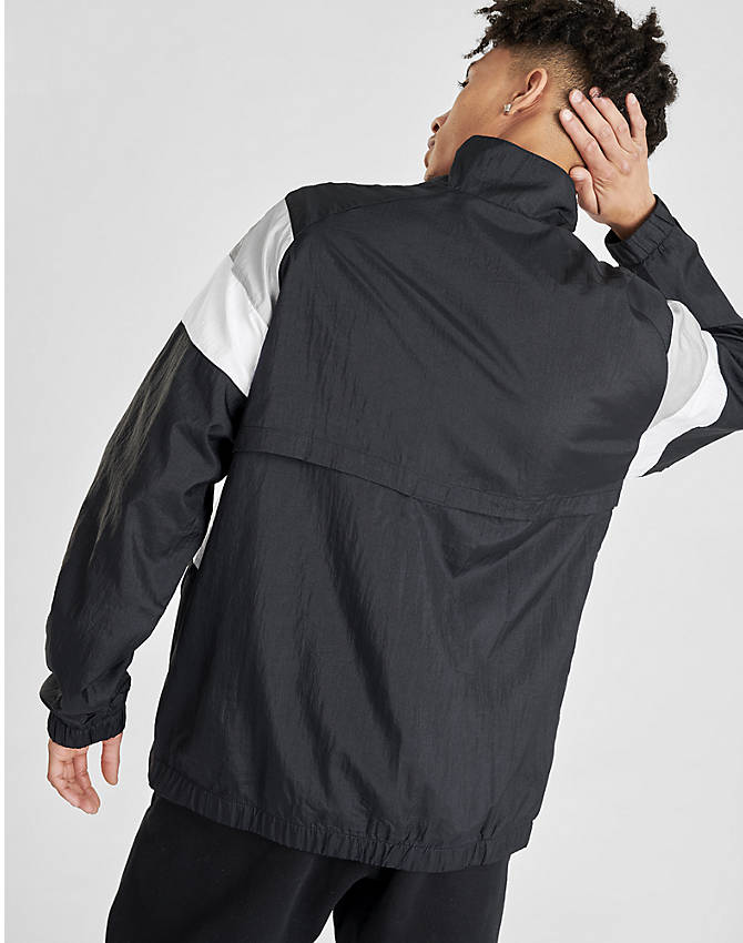 Back Right view of Men's Champion Nylon Colorblock Track Jacket in Black