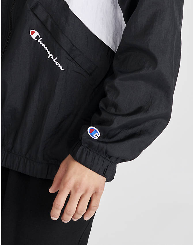 On Model 5 view of Men's Champion Nylon Colorblock Track Jacket in Black