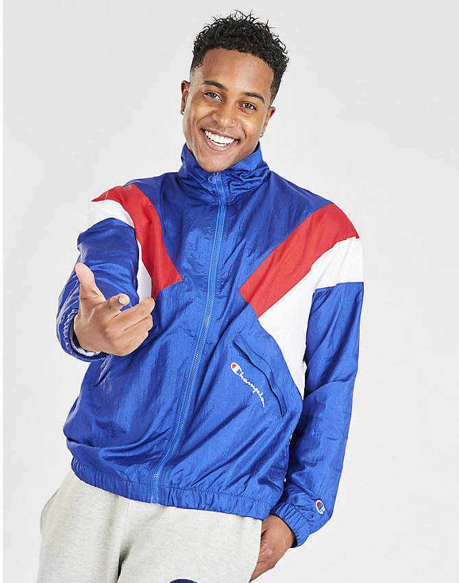 Front view of Men's Champion Nylon Colorblock Track Jacket in Surf the Web