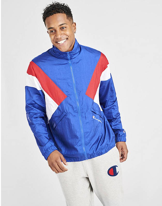 Back Left view of Men's Champion Nylon Colorblock Track Jacket in Surf the Web