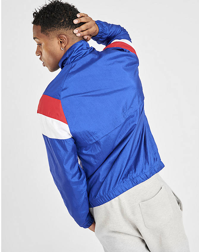Back Right view of Men's Champion Nylon Colorblock Track Jacket in Surf the Web