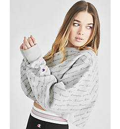 Women's Champion Reverse Weave Allover Print Cropped Crewneck Sweatshirt